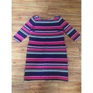 Talbots Pink White Blue Striped Tunic Dress